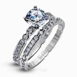 Simon G Unique 18kt White Gold Diamond Engagement Ring Set image 2