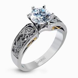Simon G 18kt White Gold Intricate Engagement Ring image 2