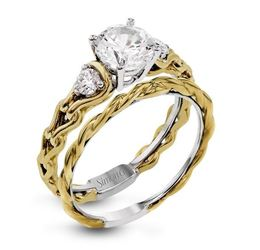 Simon G Remarkable 18kt Two-tone White & Yellow Gold Engagement Set image 1