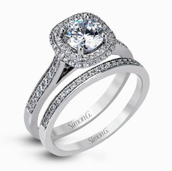 Simon G 18kt White Gold Contemporary Halo Engagement Ring & Band Set image 2