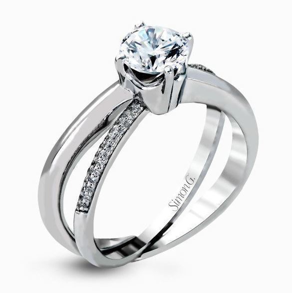 Simon G 18kt White Gold Crossing Band Engagement Ring Set image 2
