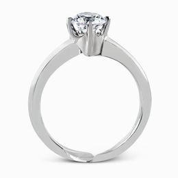 Simon G 18kt White Gold Crossing Band Engagement Ring Set image 3