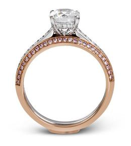 Simon G Impressive 18kt White & Rose Gold Engagement Ring Set image 3