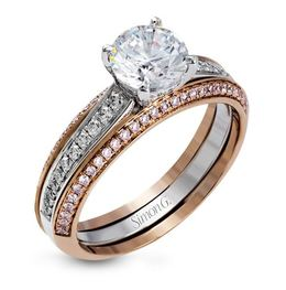 Simon G Impressive 18kt White & Rose Gold Engagement Ring Set image 1