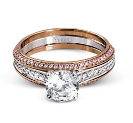 Simon G Impressive 18kt White & Rose Gold Engagement Ring Set image 2