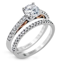 Simon G Classic 18kt White Gold Engagement Ring & Wedding Band Set image 1