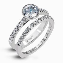 Simon G 18kt White Gold Modern Halo Engagement Ring & Wedding Band Set image 2