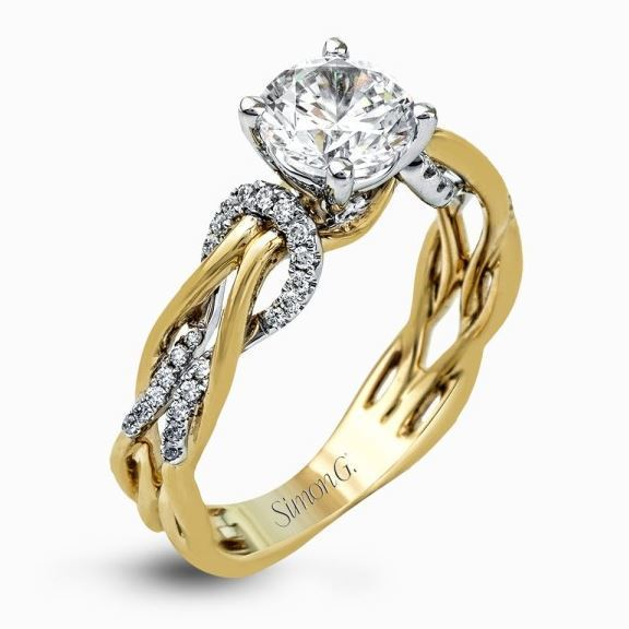 Simon G 18kt Two-tone Yellow & White Gold Twisted Shank Engagement Ring image 2