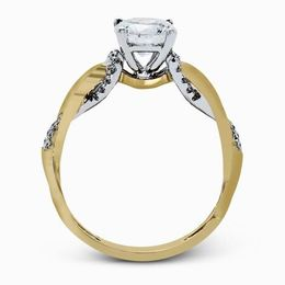Simon G 18kt Two-tone Yellow & White Gold Twisted Shank Engagement Ring image 3