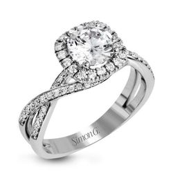 Simon G Sparkling 18kt White Gold Halo Engagement Ring image 1