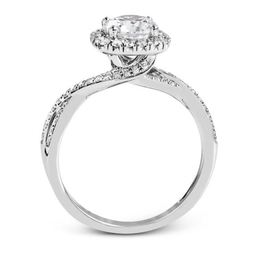 Simon G Sparkling 18kt White Gold Halo Engagement Ring image 2