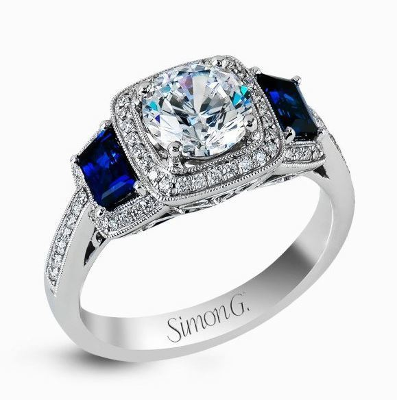 Simon G 18kt White Gold Elegant Diamond & Sapphire Engagement Ring image 2