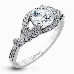 Simon G Lovely 18kt White Gold Modern Engagement Ring image 2