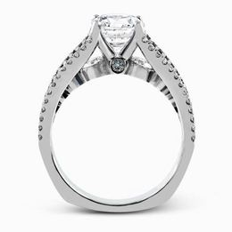 Simon G Glimmering 18kt White Gold Split-Shank Engagement Ring image 3