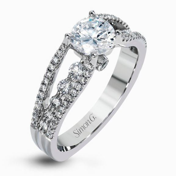 Simon G Glimmering 18kt White Gold Split-Shank Engagement Ring image 2