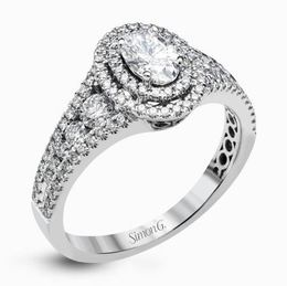 Simon G 18kt White Gold Double Oval Halo Engagement Ring  image 2