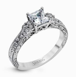 Simon G Dazzling 18kt White Gold Vintage Engagement Ring image 2