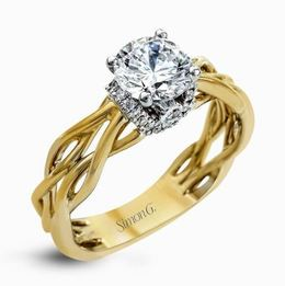Simon G 18kt Two-tone White & Yellow Gold Twisted Shank Engagement Ring image 2
