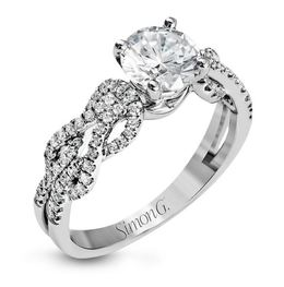 Simon G 18kt White Gold Lovers Knots Engagement Ring image 1