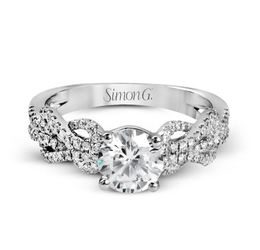 Simon G 18kt White Gold Lovers Knots Engagement Ring image 3