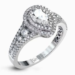 Simon G 18kt Pear-Shaped Double Halo Engagement Ring image 2