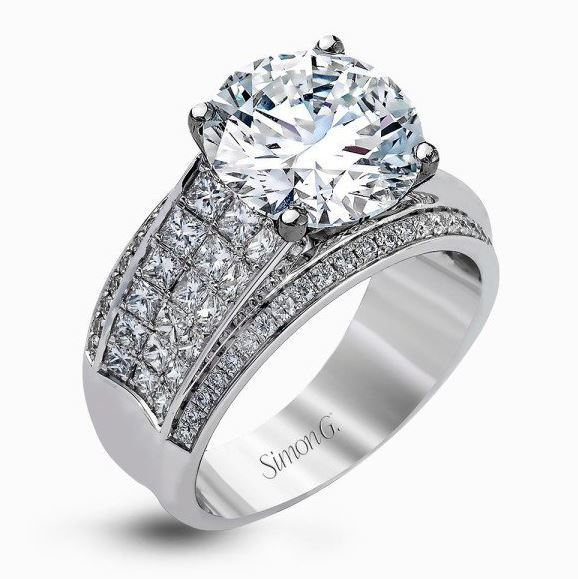 Simon G Eye-Catching 18kt White Gold Wide-Band Engagement Ring image 2
