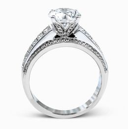 Simon G Eye-Catching 18kt White Gold Wide-Band Engagement Ring image 3