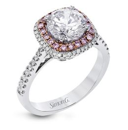 Simon G 18kt White Gold Halo Engagement Ring image 1