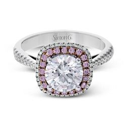 Simon G 18kt White Gold Halo Engagement Ring image 2