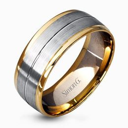 Simon G 14kt Yellow & White Gold Two-Tone Matte Men's Wedding Band image 2
