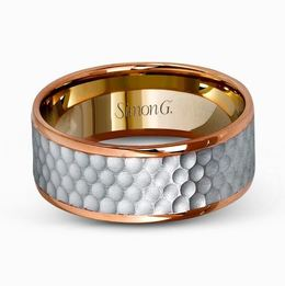 Simon G 14kt White & Rose Gold Hammered Two-Tone Men's Band image 2