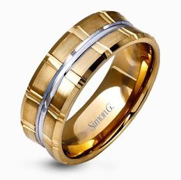 Simon G 14kt White & Yellow Gold Modern Men's Wedding Band image 2