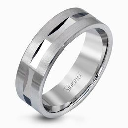 Simon G 14kt Striking White Gold Men's Wedding Band image 2