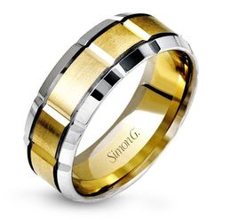 Simon G 14kt White & Yellow Gold Beveled Edge Men's Wedding Band image 2