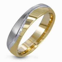 Simon G 14kt White & Yellow Gold Contemporary Men's Wedding Band image 2