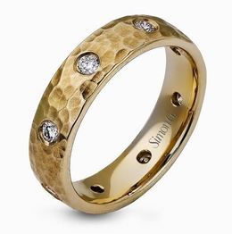 Simon G 14kt Hammered Yellow Gold Men's Wedding Band With Diamonds image 2