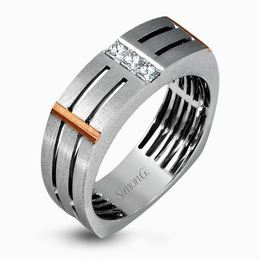 Simon G Impressive 14kt White & Rose Gold Diamond Accent Men's Band  image 2