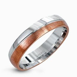 Simon G 14kt White & Rose Gold Sleek Men's Wedding Band image 2