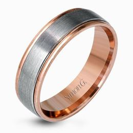 Simon G Platinum & 18kt Rose Gold Brushed Men's Wedding Band image 1