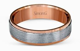 Simon G Platinum & 18kt Rose Gold Brushed Men's Wedding Band image 2