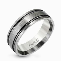 Simon G 14kt Grey Gold Brushed Men's Wedding Band image 2