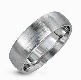 Simon G 14kt White Gold Brushed Men's Wedding Band image 2
