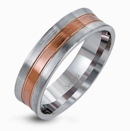 Simon G 14kt White & Rose Gold Brushed Two-Tone Men's Wedding Band image 2