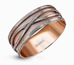 Simon G 14kt White & Rose Gold Twisted Infinity Men's Wedding Band image 2