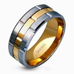 Simon G 14kt Yellow & White Gold Sleek Two-Tone Men's Wedding Band image 2