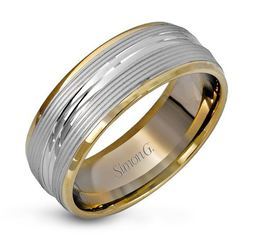 Simon G 14kt White & Yellow Gold Ribbed Design Men's Wedding Band image 2