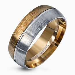 Simon G Dramatic 14kt Yellow & White Gold Men's Wedding Band image 2