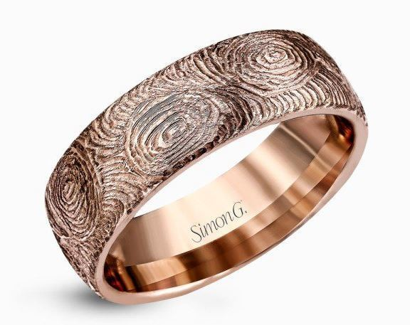 Simon G 14kt Rose Gold Fingerprint Design Men's Wedding Band image 2