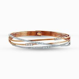 Simon G 18kt White & Rose Gold Twisted Diamond Bangle Bracelet image 2