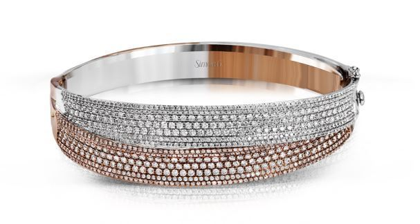 Simon G 18kt White & Rose Gold Striking Bangle Bracelet image 2